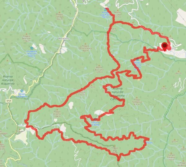Mappa del percorso Giro dei 5 Rifugi nella Riserva Naturale Acquerino Cantagallo