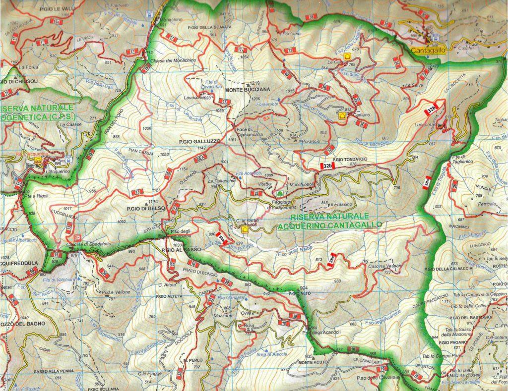 Mappa sentieri Riserva Naturale Acquerino Cantagallo